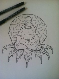 Homer Simpson Buddha with pizza and a donut. My drawing in pen