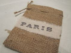 Burlap Draw String Gift Favour Bags - Hand Stamped Ribbon - Paris