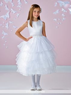 Joan Calabrese for Mon Cheri - 117331 - Sleeveless satin and tulle mid-calf length full A-line dress with hand-beaded jewel neckline, matching beaded waistband, covered buttons down back bodice onto skirt, multi-layered tulle skirt with surged edging.Sizes: 2 – 14Colors: White, Ivory