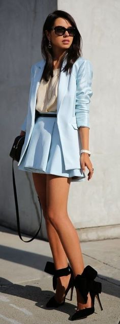 Light Blue Satin Blazer, Cream Blouse, Light Blue Box Pleated Skirt, Black Bow Pumps |Vivaluxury