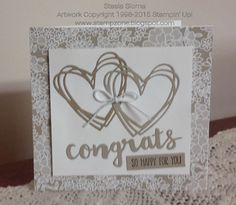 Wow, soft suede ink is so classy when used with Sunshine  Wishes stamp and die set. Complimentary designer paper borders the panel of double hearts and tiny white bow.  DIY wedding card