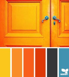 a door orange Color Palette by Design Seeds Colour Pallette, Colour Schemes, Color Patterns, Color Combos, Pantone, Orange Design, Design Color, Blue Design, Color Balance