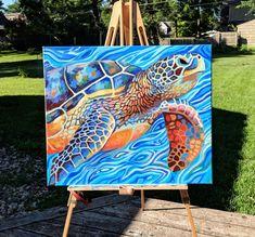 The Feeling of Freedom by Lauren Elizabeth W. Sea Turtle Painting, Sea Turtle Art, Diy Canvas Art, Acrylic Painting Canvas, Acrylic Painting Animals, Animal Paintings, Wildlife Paintings, Art Watercolor, Guache