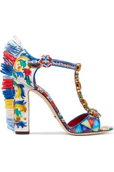 Dolce & Gabbana - Bianca Raffia-trimmed Embellished Printed Patent-leather Sandals - Red - IT39.5
