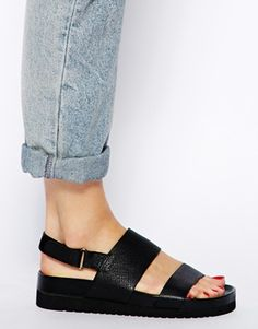 Image 4 of Senso Iggy Black Footbed Flat Sandals