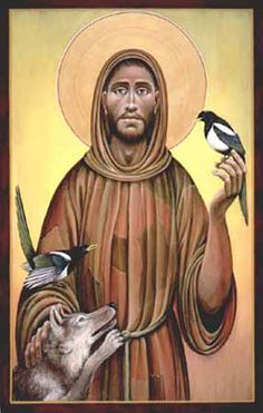 Saint Francis of Assisi -- Robed in a garment of patches, he calms the famed wolf of Gubbio, while two magpies join in his song of thanks and praise. Icon by by Fr. John Giuliani from Bridge Building Images.