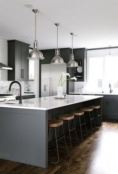 Here are the Black White Wood Kitchens Design Ideas. This post about Black White Wood Kitchens Design Ideas was posted Grey Kitchen Cabinets, Kitchen Cabinet Design, Kitchen Flooring, Kitchen Countertops, Kitchen Interior, New Kitchen, Kitchen Decor, Quartz Countertops, Kitchen Ideas