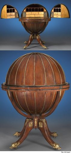 """Globe desk made around 1810, during the Regency Period, in England by Morgan & Sanders. It is referred to as """"metamorphic furniture."""" Meaning that it changed in someway."""
