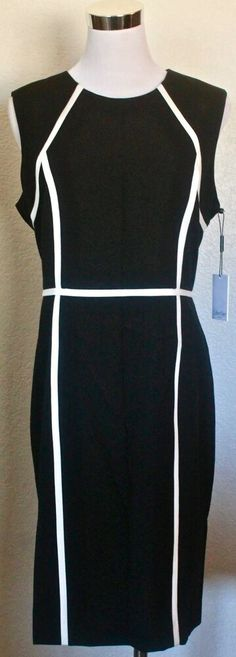 7be43680c0f40 Details about CALVIN KLEIN WOMAN'S SLEEVELESS SHEATH COLOR BLOCK BLACK  WHITE DRESS SZ 10 NWT