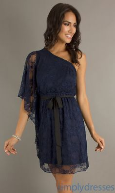 Short Lace Dress, One Shoulder Navy Short Dress - this is what I got! Hope it works!