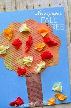 Painted Newspaper Fall Tree Craft