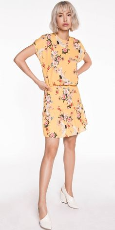 Made from a yellow crane georgette from Europe this gathered dropped waist dress features a short Magyar sleeve and frilled hem. Fully lined. Cue Clothing, Buy Dresses Online, Drop Waist, Yellow Dress, Crane, Worship, Evening Dresses, Casual Dresses, Cold Shoulder Dress