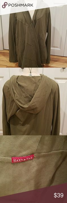 PLUS SIZE ARMY GREEN HARD TAIL OPEN CARDIGAN!!! Like new, mint condition!! Size 1x. Open cardgian with HOODIE, comes wkth pockets. Hard Tail Sweaters