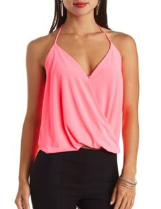 Draping Wrap Halter Top: Charlotte Russe