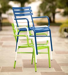 Vintage-Style Colorful Metal Patio Chair