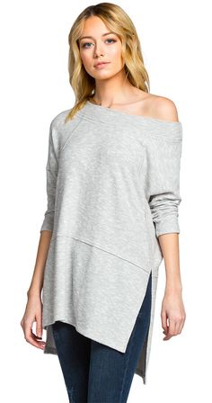 Quietude Tunic Loose fit Round neck, off shoulder style Three-quarter length sleeves Side slits Heavyweight knit fabric with soft, fuzzy texture Stretchy material Raw edge detailing on seams Drapes well Fabric Rayon Polyester Spandex Silver Icing, Off Shoulder Fashion, Best Brand, Stretchy Material, Chic Outfits, Casual Dresses, Tunic Tops, Polyvore, Raw Edge