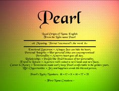 definition of pearls | Pearl Name Meaning