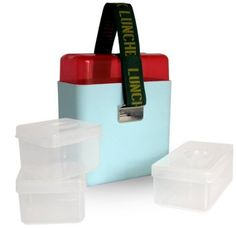 OOTS Deluxe Lunchbox with Containers, Blue: Kitchen & Dining: with strap on the top to hold water bottles