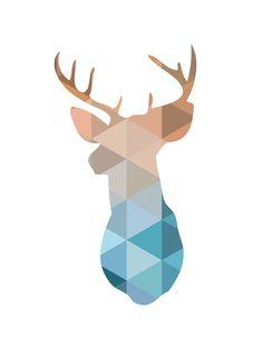 Peach & Blue Deer Head Print Deer Antlers von MelindaWoodDesigns
