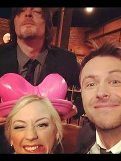 Norman Reedus, Emily Kinney and Chris Hardwick with the pink bra planter on Talking Dead Walking Dead Season 4, The Walking Dead 3, Norman Reedus Emily Kinney, Daryl Beth, Talking To The Dead, Dead To Me, Tumblr, Stuff And Thangs, Hollywood Life