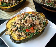 Stuffed Acorn Squash with Wild Rice Medley #Recipe - Wanna taste? Come ...