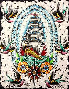 OUT TO SEA Traditional Tattoo Flash Painting, Original Vintage Style Watercolor, Nautical, Traditional American Tattoo Wall Art Traditional Nautical Tattoo, Traditional Tattoo Design, Traditional Tattoo Flash, Tatto Old, Tatoo Art, Tattoo Small, Old School Tattoo Designs, Tattoo Designs Men, Dessin Old School