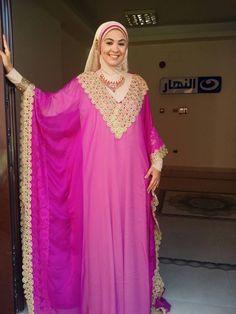 Doaa Amer in pink abaya
