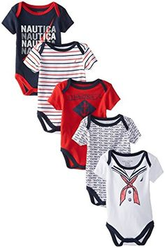 4eab9b272 Nautica Baby-Boys Newborn 5 Pack Sailor Bodysuit, Assorted, Months: Nautica-branded  short-sleeve bodysuits featuring snap bottoms and lap necks Tag-free ...