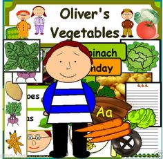 """Oliver's Vegetables story books. Photo-copiable """"Oliver's Vegetables"""" work book. Oliver's Vegetables word search. Olivers Vegetables, Farmer Duck, Vegetable Crafts, Phonics Blends, Story Sack, Teaching Aids, Teaching Resources, Leaf Crafts, English Food"""