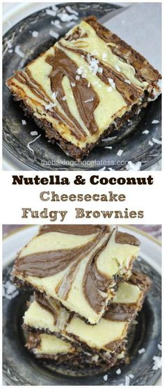 Nutella & Coconut Cheesecake Fudgy Brownies - Nutella & Coconut Cheesecake Brownies are delish! If you love Nutella, coconut, cheesecake and swirls, these are the most fudgy, decadent brownies made just for you! Nutella Recipes, Brownie Recipes, Cheesecake Recipes, Cheesecake Brownies, Chocolate Recipes, Easy Nutella Brownies, Fudgy Brownies, Easy Desserts, Delicious Desserts