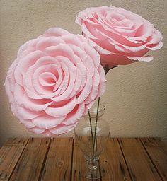 Large Light Pink Crepe Paper Flower Rose, Wedding Flower, Wedding Bouquet