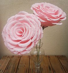 Large Light Pink Crepe Paper Flower Rose by TheCustomCouple