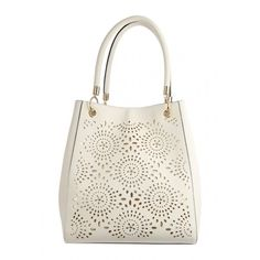 Womens White Lazer Stud Bucket Bag (€23) ❤ liked on Polyvore featuring bags, handbags, shoulder bags, white studded purse, white handbags, white studded handbag, white purse and bucket bag