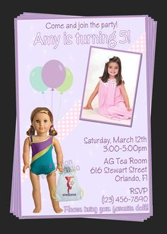 Custom American Girl Doll Birthday Party Invitations