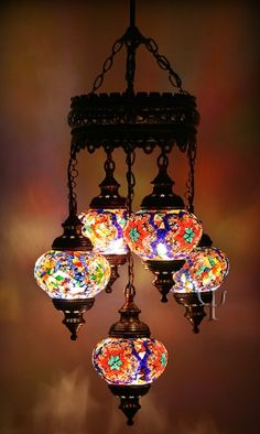 Turkish Handmade Multi Color 5 Ball Glass Mosaic Chandelier Hanging Lamp B 004 Turkish Lights, Turkish Lamps, Turkish Carpets, Suzani Fabric, Glass Chandelier, Chandeliers, Bohemian Decor, Mosaic Glass, Lamp Light