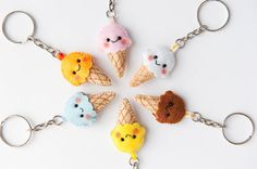 This listing is for ONE Kawaii Ice Cream Felt Keychain made to order. Choose the color you prefer from the list above or choose it from your own.