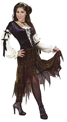 Gypsy Rose Women's Costume - This woman's gypsy costume is perfect for Halloween, Renaissance fairs or for anywhere a fortune teller is required. It also makes for an outstanding pirate queen outfit.  You won''t need a crystal ball to predict that you''ll have an amazing Halloween with this sultry Gypsy outfit.  This 2-piece Gypsy women's costume features a dress with matching hair clip. #yyc #calgary #costume #gypsy #pirate #gypsyrose
