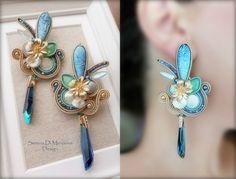 Soutache Earrings - Design by Serena Di Mercione Jewelry Crafts, Jewelry Box, Jewelery, Handmade Jewelry, Jewelry Making, Soutache Earrings, Ring Earrings, Shibori, Jewelry Patterns