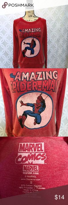 "Marvel Comics The Amazing Spider-Man Burnout Tee Marvel Comics The Amazing Spider-Man Burnout Tee NWOT.      Measurements Laying Flat Size 🔹XS or S  Armpit to Armpit 🔹17"" 18"" Shoulder to Hem 🔹23"" 24"" Bundle to Save 🤓 Sorry NO outside transactions 🚫 NO trades 🚫 Reasonable Offers welcomed 👍 NO Low balling 👎 NO modeling 👎 NO Holds👎 All items from a pet 😼and Smoke Free Home  Happy Poshing 🤗 Marvel Tops Tees - Long Sleeve"