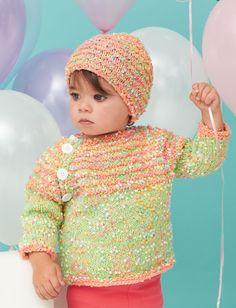 Yarnspirations.com - Bernat Striped Ridge Knit  Set - Patterns  | Yarnspirations