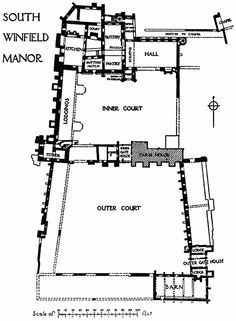 Derbyshire, Wingfield Manor  - plan showing how it was built around 2 courtyards.