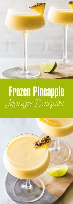A Frozen Pineapple Mango Daiquiri is the ultimate hot weather cocktail: smooth, cold, fruity and not-too-sweet. Just perfect. A Frozen Pineapple Mango Daiquiri is the ultimate hot weather cocktail: smooth, cold, fruity and not-too-sweet. Just perfect. Mango Daiquiri, Frozen Daiquiri, Party Drinks Alcohol, Drinks Alcohol Recipes, Alcoholic Drinks, Drink Recipes, Punch Recipes, Mango Rum Drinks, Sorbet