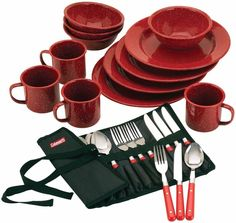 Dinnerware Set Plates Bowls Mugs Red Dishes Camping Hiking Outdoor Kitchen