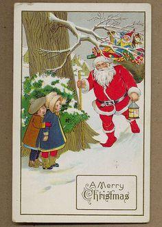Antique Christmas Postcard SANTA Claus with Sack of Toys & Children 1914