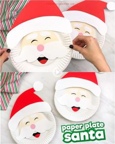 Paper Plate Santa Craft For Kids Christmas Crafts For Kids To Make, Christmas Activities For Kids, Christmas Paper Crafts, Kids Christmas, Holiday Crafts, Fun Activities, Summer Crafts, Christmas Printables, Fall Crafts