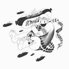 Bazook Hot Dog .Part of my solo show, TOUCHEZ PAS AU FRICHTI in Nantes.Available until the 30th of september at CafK /2, rue bossuet 44000 Nantes....#hotdog #sausage #mask #america #goodmorning #sausage #illustration #illustrationage #wood #graphite #drawing #illustrator #illustreak #illustrationartists #art #instaart #instagood #artistoninstagram #pierrepoux #exhibition #bidochard #nantes #nantescity