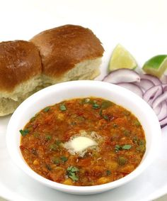 Pav Bhaji - Mumbai Special Street Food - Popular Indian Food - Perfect to Serve as a Party Snack - Curry of mixed vegetables served with soft bread (pav) - step by step recipe