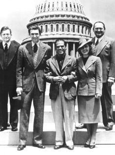 Claude Rains, James Stewart, Frank Capra, Jean Arthur and Edward Arnold in Mr. Smith Goes to Washington
