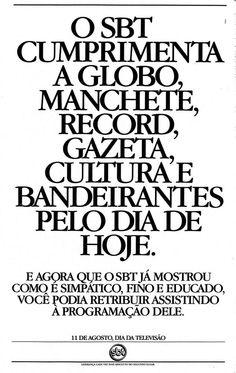 Anúncio do SBT parabeniza Globo e ganha buzz na web