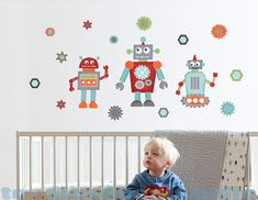 Robot Fabric Wall Decals Stickers  not vinyl by ToodlesDecalStudio